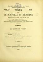 view Essai sur les kystes de l'orbite : thèse pour le doctorat en médecine / par Federico Gacitua.