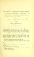 view Concerning a possible etiological factor in tobacco-alcohol amblyopia revealed by an analysis of the urine of cases of this character / by G. E. de Schweinitz and David L. Edsall.