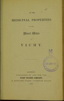 view On the medicinal properties of the mineral waters of Vichy.