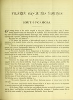 view Observations on Filaria sanguinis hominis in south Formosa / by W. Wykeham Myers.
