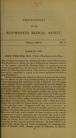 view Proceedings of the Westminster Medical Society. Nos. 1-3 (session 1848-1849).