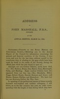 view Address of John Marshall, F.R.S., President of the Royal Medical and Chirurgical Society of London, at the annual meeting, March 1st, 1884.