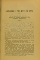 view Cirrhosis of the liver in cats / by W.S. Greenfield.