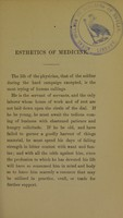 view Esthetics of medicine : the doctorate address in the Medical Department of the University of Louisville, 1886 / by H.A. Cottell.