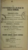 view De cysticerco cellulosae in oculo humano : dissertatio inaugural medico-chirurgica ... / publice defendet auctor Gerardus Adolphus Georgius Berthold ; opponentibus Beoning, Weber, Kohn.