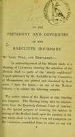view To the President and Governors of the Radcliffe Infirmary.