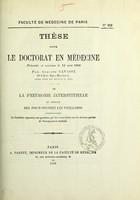 view De la pneumonie interstitielle du sommet des poumons chez les vieillards : thèse pour le doctorat en médecine présentée et soutenue le 12 août 1868 / par Auguste Cavasse.