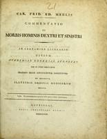 view Commentatio de morbis hominis dextri et sinistri ... / Car. Frid. Ed. Mehlis.