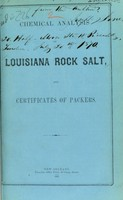 view Chemical analysis of Louisiana rock salt, and certificates of packers.