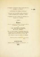 view Thèse présentée et publiquement soutenue à la Faculté de médecine de Montpellier, le 30 mars 1837 [i.e. 1838?] / par J.-B. Fargier-Lagrange.