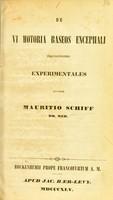view De vi motoria baseos encephali inquisitiones experimentales / auctore Mauritio Schiff.