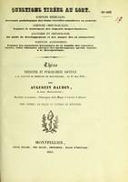 view Thèse présentée et publiquement soutenue à la Faculté de médecine de Montpellier, le 11 mai 1841 / par Augustin Baudin.