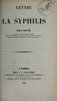 view Lettre sur la syphilis / par F. Ratier.