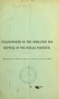 view On the operation for rupture of the female perineum / by Charles J. Cullingworth.