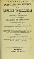 view Dissertatio inauguralis medica de nuce vomica ... / submittit Joannes N. Koharitsch = Az ebvészmagrol : orvos tudorrá létekor / értekezik Koharitsch N. János.