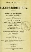 view Diaetetica de haemorrhoidibus : dissertatio inauguralis medica ... / submittit Sigismundus Herczog.