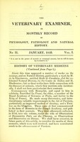 view The veterinary examiner, or, Monthly record of physiology, pathology and natural history. No II, vol. I, January, 1833.