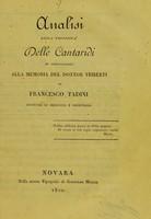 view Analisi della proprietà delle cantaridi : in confutazione alla memoria del Dottor Triberti / di Francesco Tadini.