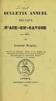view Bulletin annuel des eaux d'Aix-en-Savoie pour 1834 / par Constant Despine.