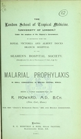 view Malarial prophylaxis in small isolated communities in central Africa / by R. Howard.