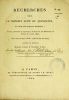 view Recherches sur le principe actif du quinquina, et sur son emploi médical : thèse présentée et soutenue à la Faculté de médecine de Paris, le 21 mai 1822 / par Alexandre Low.