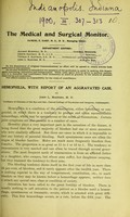 view Hemophilia, with report of an aggravated case / by John L. Masters.