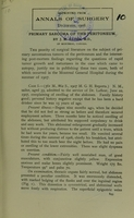 view Primary sarcoma of the peritoneum / by J.M. Elder.