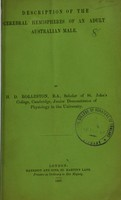 view Description of the cerebral hemispheres of an adult Australian male / by H.D. Rolleston.