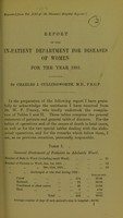 view Report of the in-patient department for diseases of women for the year 1891 / by Charles J. Cullingworth.