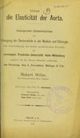 view Über die Elasticität der Aorta / von Robert Hiller.