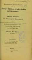 view Experimentelle Untersuchungen über die Leitungsverhältnisse zwischen Gehirn und Rückenmark / Moritz Nussbaum.