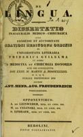 view De lingua : dissertatio inauguralis medico-chirurgica ... / auctor Ant. Henr. Aug. Freudenreich.
