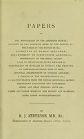 view [Papers on anatomy] / by R.J. Anderson.