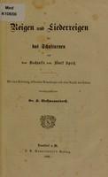 view Reigen und Liederreigen für das Schulturnen / aus dem Nachlasse von Adolf Spiess ; herausgegeben von K. Wassmannsdorff.