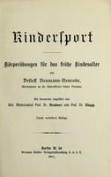 view Kindersport : Körperübungen für das frühe Kindesalter / von Detleff Neumann-Neurode.