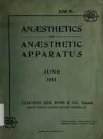 view Anæsthetics and anæsthetic apparatus, June 1911 / Claudius Ash, Sons and Co. Ltd.