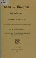 view Reigen und Liederreigen für das Schulturnen / aus dem Nachlasse von Adolf Spiess ; mit einer Einleitung, erklärenden Anmerkungen und einer Anzahl von Liedern, herausgegeben von. K. Wassmannsdorff.