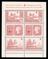 """view [Multiple sheet of 6 perforated 'stamp' stickers """"sold in aid of the Lord Mayor's Red Cross and St. John Fund."""" Printed in magenta]."""