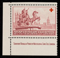 """view [Single, 'stamp' gummed sticker celebrating the stamp centenary exhibition and """"sold in aid of the Lord Mayor's Red Cross and St. John Fund."""" Printed in magenta]."""