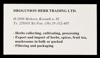 view [Business card for Drogunion Herb Trading Ltd., H-2698 Mohora, Kossuth].