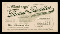 """view The """"Allenburys"""" throat-pastilles : efficient and palatable : February 1905."""