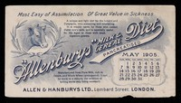 """view The """"Allenburys"""" milk & cereal diet pancreatised : most easy of assimilation of great value in sickness : May 1905."""