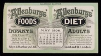 view The 'Allenbury' Foods for infants : The 'Allenburys' Diet for adults : May 1906.