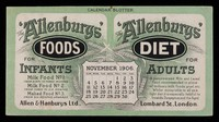 view The 'Allenbury' Foods for infants : The 'Allenburys' Diet for adults : November 1906.