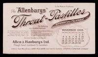 "view The ""Allenburys"" throat-pastilles : efficient and palatable : November 1906."