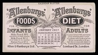 view The 'Allenbury' Foods for infants : The 'Allenburys' Diet for adults : January 1907.