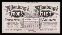 view The 'Allenbury' Foods for infants : The 'Allenburys' Diet for adults : November 1907.