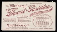"view The ""Allenburys"" throat-pastilles : efficient and palatable : November 1907."