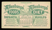 view The 'Allenbury' Foods for infants : The 'Allenburys' Diet for adults : January 1908.