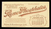 view Byno-Phosphates : a nutritive and digestive tonic for delicate and anaemic children : January 1908.
